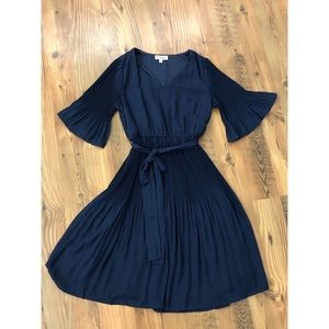Navy Butterfly Sleeve Dress